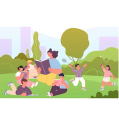 teacher reading in park children listen book vector image
