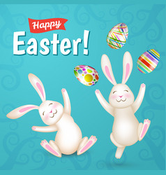 Tow easter white bunnies and eggs vector