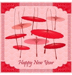 Traditional Chinese red umbrellas vector image