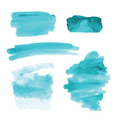 Turquoise blue watercolor shapes stains strokes vector
