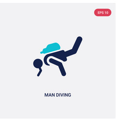 Two color man diving icon from behavior concept vector