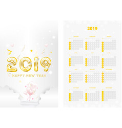 two-sided calendar for the new year 2019 with vector image
