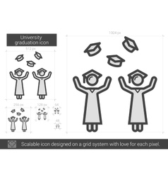 University graduation line icon vector