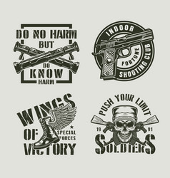 vintage monochrome military labels vector image