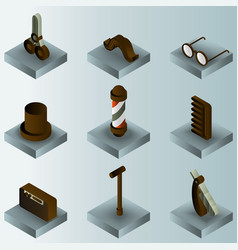 vintage stuff color gradient isometric icons vector image