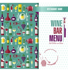 Wine menu abstract background flat style vector