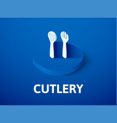 cutlery isometric icon isolated on color vector image