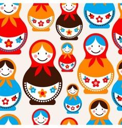 Matreshka doll - seamless pattern vector image