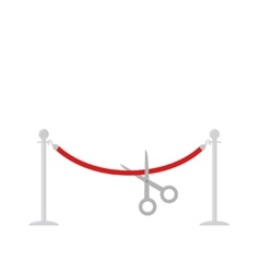 Scissors cut red rope silver barrier stanchions vector image