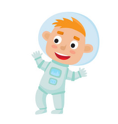 standing astronaut kid isolated on white vector image