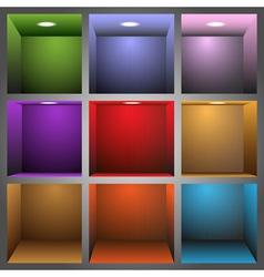 3d colorful shelves vector image