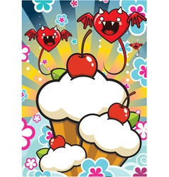 Cherry muffins vector image vector image