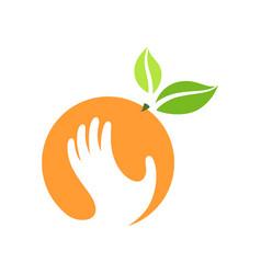 orange and hand logo label emblem design vector image vector image