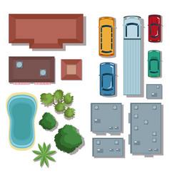 urban elements top view vector image