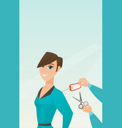 Caucasian woman cutting price tag off new jacket vector