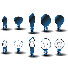 Collection of several bulbs on white background vector image
