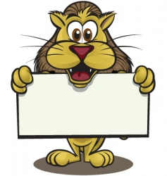 cute lion holding sign vector image vector image