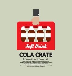 Flat design cola crate in hand vector