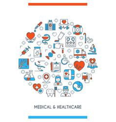 flat line design medical concepte vector image