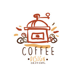 hand drawn original logo design with coffee vector image vector image