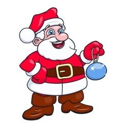 Santa claus holding christmas tree ball 2 vector