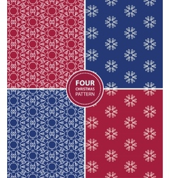 Set of four Christmas seamless patterns vector image