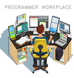 The programmer writes code vector image