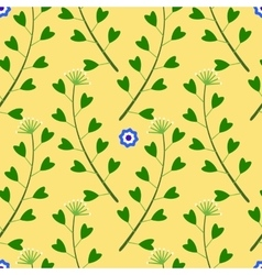 Yellow Pattern with FlowersGrass vector image