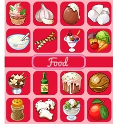 Big food set of 16 icons on a pink background vector image vector image