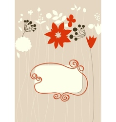 Cute floral background frame for text vector image
