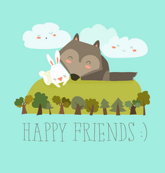 happy friends in the forest wolfrabbit vector image vector image