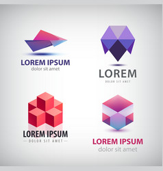 set of colorful origami logos vector image vector image