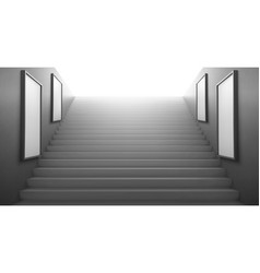 3d stairs going to light empty white lcd screens vector