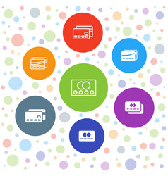 7 paying icons vector