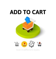 Add to cart icon in different style vector image