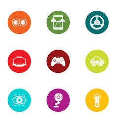Advanced game icons set flat style vector