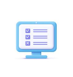 Assignment icon computer screen checklist vector