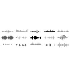 Black sound waves abstract music wave radio vector