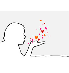 blowing hearts vector image