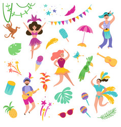 Brazil carnival festive set dancing characters vector