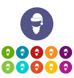 cap with pompon of santa claus and beard set icons vector image