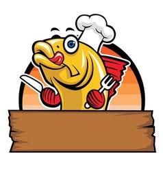 Cartoon fish chef vector
