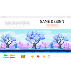 Cartoon game design web page template vector