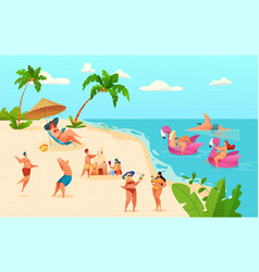 cartoon summer beach vacation symbols set vector image