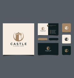 Castle logo design with business card vector