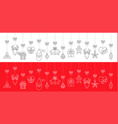christmas greeting ornaments elements hanging vector image