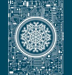 christmas hi-tech background with snowflake vector image