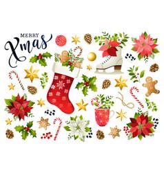Christmas set design composition of poinsettia vector