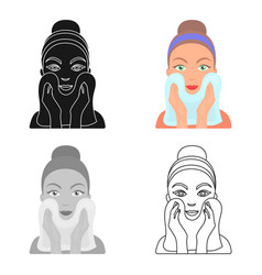 cleaning of face skin icon in cartoon style vector image
