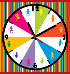 clock with colored kids on striped background vector image